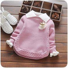 Baby Mädchen Winter Pullover Kragen Kinder Kleidung Baby … - Knitting For Kids Baby Knitting Patterns, Knitting For Kids, Knitting Designs, Baby Patterns, Crochet Patterns, Crochet Ideas, Baby Sweaters, Winter Sweaters, Girls Sweaters