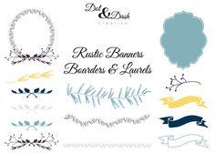 Rustic Banners, Boarders, and Laurels Digital Clip Art