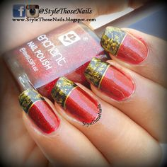 Distressed French Tip Nails- Red Nails for Fall #frenchmanicure #rednails #distressed nails. Click on weblink for more