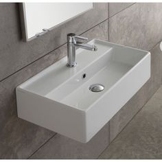 "$292, no hole. Use in wall-faucet. Concrete slab underneath Found it at AllModern - Teorema 16"" Wall Mounted Bathroom Sink with Overflow"