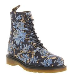 Dr. Martens 8 Eyelet Lace Up Bt Blue Jouy Floral Canvas - Ankle Boots