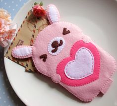 Usagi Love Lucky Cute Pink Rabbit iPhone Camera Felt Case. $24.00, via Etsy.