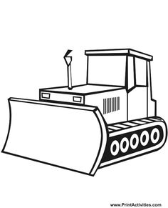 The bulldozer is ready for the construction coloring page