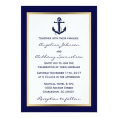 Elegant Custom Navy Blue Nautical Wedding Invites Nautical Wedding Invitations, Nautical Wedding Theme, Wedding Invitation Cards, Custom Invitations, Wedding Stationery, Wedding Templates, Wedding Matches, Wedding Supplies, Party Supplies