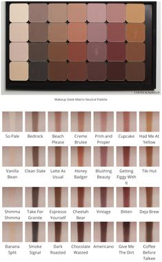 Makeup Geek 71350 Swatches of all the eyeshadows in the Makeup Geek Matrix Neutral Eyeshadows. Makeup Geek Swatches, Makeup Dupes, Eye Makeup, Contour Makeup, Best Makeup Geek Eyeshadows, Jester Makeup, Highlighting Contouring, Makeup Geek Cosmetics, Zombie Makeup