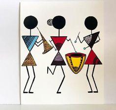 Warli Art Warli prints indian folk art prints home decor image 2 Worli Painting, Fabric Painting, Music Painting, Doodle Art Drawing, Art Drawings, Art Indien, Afrique Art, Pottery Painting Designs, Fabric Paint Designs