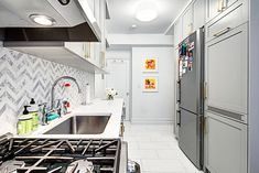 greenwich village kitchen renovation  cloud-colored marble floor tiles and have no regrets about that luxe choice