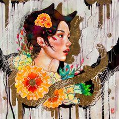 """Mimicry"" Mixed media on wood. 24x24 www.juuriart.com #japanese #gold #orange #flowers #kimono #cat #neko #girl #yokai"