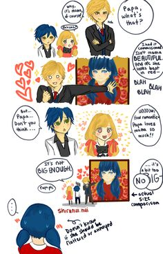 miraculous ladybug | Tumblr Headcanon. After Marinette and Adrien get married and have kids. Adrien have an painting painted of Marinette. And later the kids find the painting in his office. And Adrien tells them the tale of them as they were young. And said that he need the painting to be big. But his oldest son said be it takes up an whole wall. But Adrien kepts saiding that it is not big enough. Ps. Mari. was there the whole eavedropping on the cono of Adrien and they kids