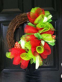 Christmas deco mesh grapevine wreath on Etsy, $50.00