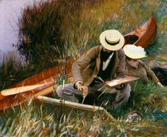 John Singer Sargent - Paul Helleu Sketching with his Wife or An Out-of-Doors Study. x cm, Oil on canvas, Brooklyn Museum of Art Museum Collection Fund Claude Monet, Sargent Art, Google Art Project, Kunst Online, Brooklyn Museum Of Art, John Everett Millais, Art Ancien, Love Painting, Painting Tips