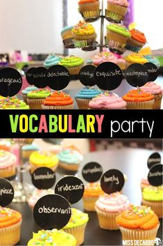 Throw a vocabulary party in your classroom with word cupcakes, games, and literacy! Learn how to set up your vocabulary party, grab a FREE vocabulary game, and find out how I included families into our vocabulary celebration! Your word experts will have so much fun! #vocabularyparty #vocabularycelebration #vocabulary #vocabularyactivities #vocabularygames #vocabularyfreebies #vocabularylessons #vocabularyinstruction #wordwork #endofyear #classroomparty