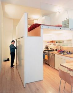 Hochbett erwachsene mit schrank  moderne Hochbett für Erwachsene -stauraum-unten-schraenke   Rooms ...