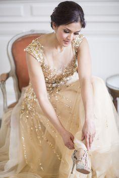 Sparkly gold glamorous wedding dress: http://www.stylemepretty.com/little-black-book-blog/2016/01/04/french-chateau-wedding-sparkly-gold-dress/ | Photography: Lauren Michelle - http://laurenmichelle.com.au/
