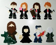 Harry Potter, Ginny, Hermione, Ron, Hagrid, Snape, Dumbledore and Voldemort from Cricut Paper Dolls Dress Up