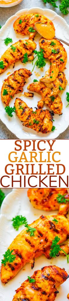 Grilled Spicy Garlic Chicken (SO Easy!) - Averie Cooks Barbecue Recipes, Entree Recipes, Grilling Recipes, Cooking Recipes, Healthy Recipes, Healthy Meals, Grilled Chicken Recipes, Easy Chicken Recipes, Easy Recipes