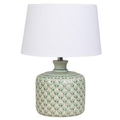 Green Ceramic Lamp with White Shade | Maisons du Monde