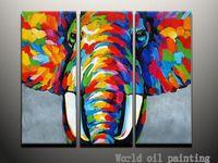 Peint à la main abstraite mur animale couleur Elephant une sef de 3 peças peinture à l'huile sur toile décoration accueil Art moderne