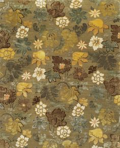 Wool and silk Broad Leaf Carpet in Weathered Spruce - Lapchi