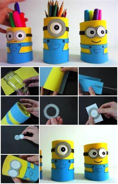 Selber machen Minion Pencil Holders - 15 DIY Minion Craft - Cool Craft Concepts Watch Out For These Foam Sheet Crafts, Foam Crafts, New Crafts, Craft Foam, Holiday Crafts, Toilet Paper Roll Crafts, Paper Crafts Origami, Pen Holder Diy, Diy Pencil Holders