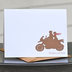 Wedding Thank You Cards, Motorcycle Wedding Thank You Card Set - Ride With Me Personalized. $18.00, via Etsy.