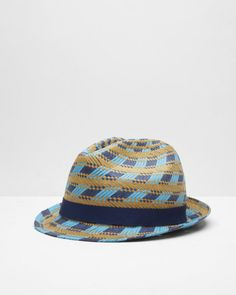 Multi-coloured straw trilby hat - Natural   Hats   Ted Baker UK