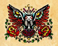Day of the Dead OWL Old School Tattoo