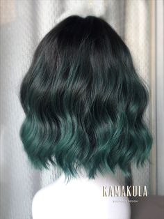 hair Ombre short - Ibiza Tide Wavy Wig, Pastel Ombre Short Curly Green Wig With Bangs, Emerald Green Wig, Daily Natural Witch Unicorn, Heat Safe Synthetic Green Hair Ombre, Blonde Ombre Hair, Dark Green Hair, Emerald Green Hair, Green Wig, Green Hair Colors, Hair Dye Colors, Hair Color Dark, Ombre Hair Color