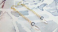 Rose Daggers Earrings  Glass Beads Dangle Earrings  Gold by SKRIN, $18.00