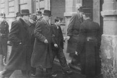 Hungarian police arrest Jewish resister, Robert Mandel, in Budapest.December 1, 1944.