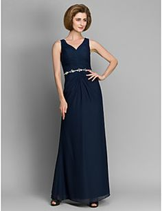 Sheath/Column Mother of the Bride Dress - Dark Navy Ankle-length Sleeveless Chiffon