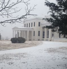 January 28th winter storm. A Cold and snowy Gaineswood. Antebellum Plantation of the Whitfield family. Demopolis, Alabama
