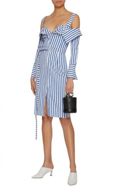 GABRIELLE'S AMAZING FANTASY CLOSET | Monse's Blue & White Striped Cotton Dress has a Fresh Take on the Off-The-Shoulder style with Straps and Frontward Folding Flaps that reveal a V-Neckline. It has Long Sleeves on a Slender Silhouette with a Tie Belt and a Front Buttons to adjust your Leg Exposure. I've got a Silver Tulip Necklace, Pearl Earrings and Pretty Rings. Finish with Yellow & Black Sandals and a Black Bucket Bag (It's all on this board). You'll look as good as you feel. - Gabrielle