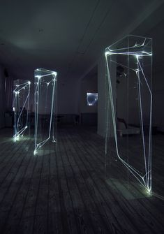 CARLO BERNARDINI, PERMEABLE SPACES 2002-2006, Fiber optic, transparent plexiglass, feet h 7,5x2x2 (everyone), Grossetti Arte Contemporanea, Milan.