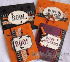 Today I am sharing the last 4 cards I made with my extra pieces of the September Paper Pumpkin Kit. I pulled out some solid cardstock, the Gorgeous Grunge Stamp Set and the retired Witches' Brew De...