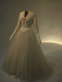 1954 Balenciaga Wedding dress in ivory satin, lace, and tulle.