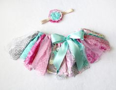 Summer Fun Pink Turquoise Mint Gray and White Lace // First Birthday Outfit // Buy it now on Etsy from FlyAwayJo