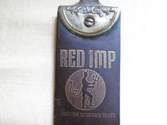 Vintage Red Imp Barbers Leather Straight Razor Sharpening Strop Strap