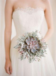 winter wedding ideas succulent bouquet