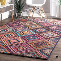 Shop The Curated Nomad Alcatraz Multicolor Windows Area Rug - Overstock - 20254143 Kindergarten Classroom Decor, Square Rugs, Rugs Usa, Rug Hooking, Locker Hooking, Online Home Decor Stores, Online Shopping, Contemporary Decor, Blue Area Rugs