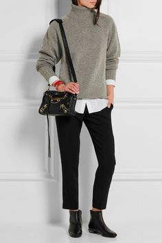 Balenciaga | Classic Metallic Edge City mini textured-leather shoulder bag | NET-A-PORTER.COM