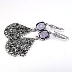 Antique Silver Teardop Earrings Rhodium by liliflurcreations, $19.00