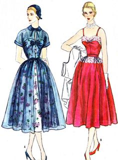 1950s Dress Pattern Simplicity 8270 Full Skirt door paneenjerez