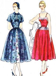 1950s Dress Pattern Simplicity 8270 Full Skirt door paneenjerez