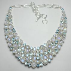 Real Charming Moonstone, Aquamarine 925 Sterling Silver Necklace 110gm 1