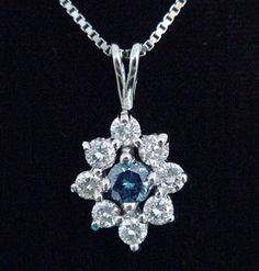 .80ct (4/5ct) Total Blue & White Round Diamond Pendant in Solid 14K White Gold!  http://www.ebay.com/itm/250990715044?ssPageName=STRK:MESELX:IT&_trksid=p3984.m1586.l2649