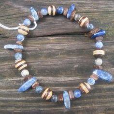 Blue Dreams Bracelet, genuine Sodalite and wood.