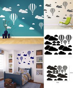 [Visit to Buy] New White Clouds Hot Air Balloon Wall Sticker For Kids Rooms Art Background Wall Stickers Home Decor Living Room Mural Decals #Advertisement