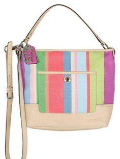 Coach Signature Hamptons Stripe Carly Bag Purse Tote 19389