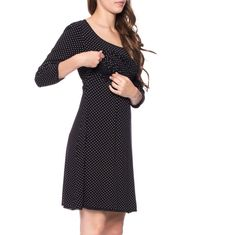 Viva la Mama   Nursing dress MEMPHIS (black/polka-dots). This breathtaking knee-length breast feeding dress charms everybody with its sweet neckline. MEMPHIS is beautiful but also functional for discreet nursing. It can be varied for different occasions, from elegant to casual.
